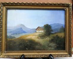 Tájkép, hegyvidék aprólékos munka miniatűr, Tátra Osztrák jellegű Alpok, Erdély Havasok stílusú.