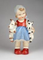 1C615 Régi SITZENDORF jelzett porcelán kislány figura 16.5 cm