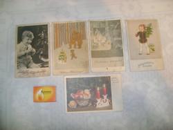 Régi karácsonyi képeslap - öt darab
