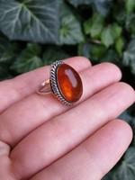 Valódi borostyán köves, ezüst gyűrű