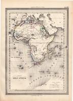 Afrika térkép 1861, olasz, eredeti, atlasz, Szahara, Nílus, Egyiptom, Madagaszkár, Guinea