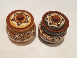 Mázas kerámia tartó, fűszeres 2 db