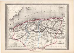 Algéria térkép 1861, olasz, eredeti, atlasz, Afrika, észak, Orán, Algír, Constantina
