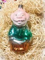 Régi retro antik üveg karácsonyfadísz ,apóka,télapó?