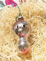 Régi retro antik üveg karácsonyfadísz ,cica