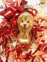 Régi retro antik üveg karácsonyfadísz ,kakas