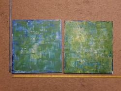 Tóth János két absztrakt, zöldes-kékes festménye, méret jelezve!