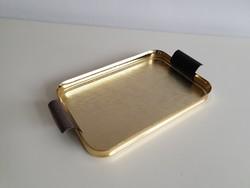 Régi retro arany színű fém tálca kínáló