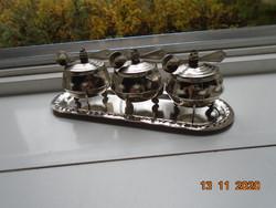 Ezüst színű Fűszerkínáló készlet pici kanalakkal tálcán