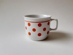 Retro Zsolnay porcelán bögre piros pöttyös régi teás csésze