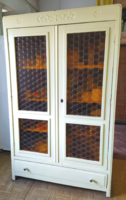 Patinás ólomüveg ajtós polcos fiókos kétajtós ruhás szekrény 2ajtós üveges