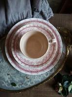 Extrém ritka Villeroy&Boch fajansz csokis reggeliző szett Rade dekorral