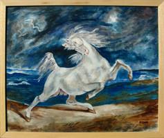 Moona - A villámlástól megriadt ló DELACROIX képének másolata