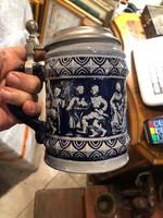 Régi kerámia söröskorsó, gyűjtőknek kiválódarab. 17 cm.