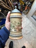Régi kerámia söröskorsó, gyűjtőknek kiválódarab. 19  cm