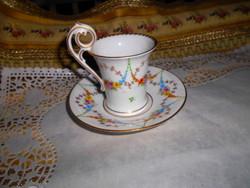 Kézzel festett Drezdai  porcelán csokoládés  csésze + csészealj