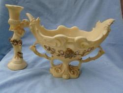 2 db gyönyörűen megmunkált asztalközép kínáló és puttós gyertya tartó