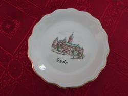 Aquincumi porcelán mini asztalközép, Győr városháza látképével.
