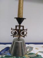 Zsűrizett iparművészeti bronz ötvözött gyertyatartó