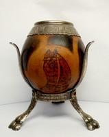 Csikó fejes barokk stílusú ezüstözött alpakka lábakon álló füstölő, vagy váza. Antik kézműves tárgy.