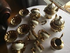 Páratlan szépségű arany-fehér porcelán teáskészlet