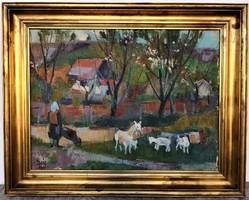 Doór Ferenc (1918 - 2015) Tájkép kecskékkel c. olajfestmény 97x77cm EREDETI GARANCIÁVAL !