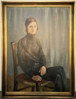 Biai-Föglein István (1905 - 1974) Fiú portré olajfestmény 86x66cm EREDETI GARANCIÁVAL !