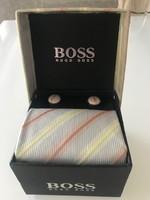 Hugo Boss nyakkendő díszzsebkendővel, mandzsettagombbal, Új