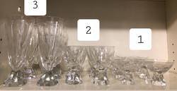 2. 6 db-os Ünnepi csiszolt kristály pohár készlet csillag mintás