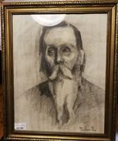 Haller Stefánia rajz, szénrajz, portré jó kvalitású mutat darab, jó nevű művész.