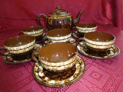 Bolgár mázas kerámia, hatszemélyes teáskészlet.