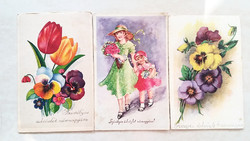 Régi képeslap 3 db lányok virágok levelezőlap