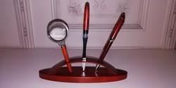 Rózsafa írókészlet asztali tolltartóval 4 db-os