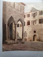 Gótikus épületrészlet akvarell