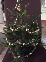 Különleges, üveg fenyőgirland karácsonyfadísz