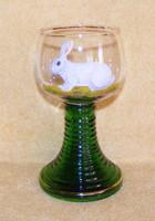 Kézzel festett nyuszis üveg pohár