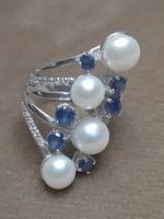Zafír gyöngy cirkónia gyűrű csodaszép sosem használt eredeti dobozában
