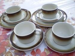 BAYREUTH WALKÜRE porcelán reggeliző készlet 4 személyes barna/bézs