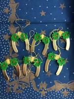 Régi dombornyomott papír szerencse patkó karácsonyfadísz