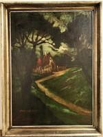 Remsey Jenő György (1885 - 1980) Erdei kunyhó c . olajfestménye 1935-ből Eredeti Garanciával !
