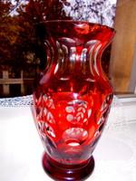 Csiszolt vastag, nehéz üveg váza -kézműves munka