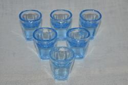 6 db régi kék likőrös pohár  ( DBZ 0091 )