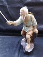 LEÁRAZTAM!Régi, kínai mázas kerámia szobor horgász