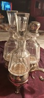 Ezüst olaj-ecet-só tartó antik nagyon ritka darab eredeti üvegekkel 19cm magas 17cm széles 3db-os