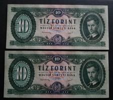 Hajtatlan sorszámkövető 10 Forint 1949 Ef.