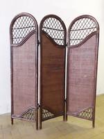 Vintage orientális stílusú három tagú bambusz paraván