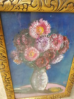 Őszirózsás virágcsendélet különleges szignóval!