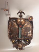 Muharos Lajos - Sárkányölő Szent György - bronz fali dísz relief