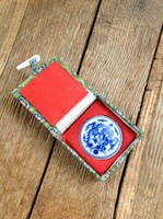 Régi kínai porcelán tégely piros festékkel pecsétnyomóhoz