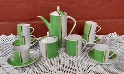 Retro Hollóházi Art Deco zöld fehér kávéskészlet, nosztalgia darab, Gyűjtői szépségek, csésze